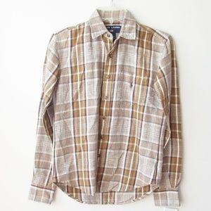 Vintage Ralph Lauren Equestrian Linen Plaid  Shirt